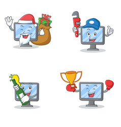 Set of monitor character with santa gift plumber vector