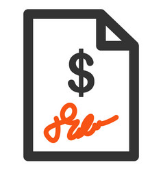 Signed invoice flat icon vector