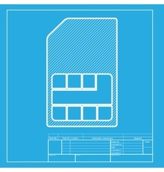 Sim card sign white section of icon on blueprint vector