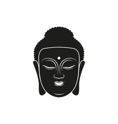 simple black buddha head icon style vector image