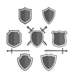 Simple shields badges design retro design vector