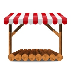 Street stall with red awning and wooden rack vector image