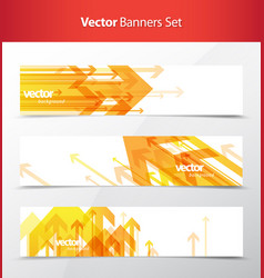Three abstract orange arrows background banners vector
