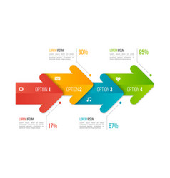 timeline chart infographic template with arrows 4 vector image vector image