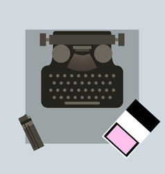 Typewriter pack of cigarettes and a lighter top vector