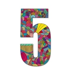 Number 5 with hand drawn abstract doodle pattern vector image