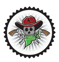 Cowboy skull with pistols vector