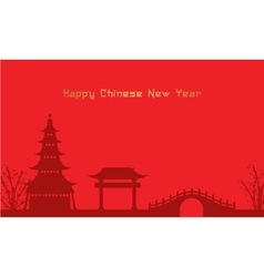 Background of chinese theme pavilion and bridge vector