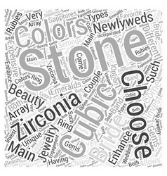 Newlyweds choose cubic zirconia jewelry word cloud vector