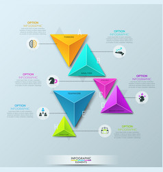 Infographic design template with 6 separate vector