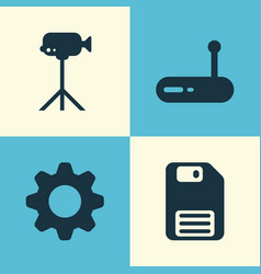 Hardware icons set collection of diskette vector