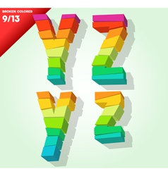 Broken colorful alphabet vector