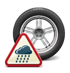 Rain tire with sign vector