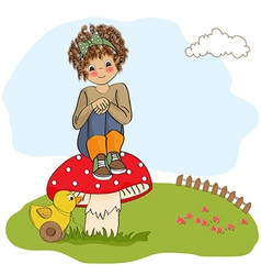 Pretty young girl sitting on a mushroom vector