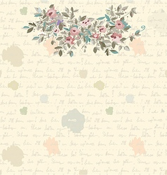 Retro letter background with flowers and text vector