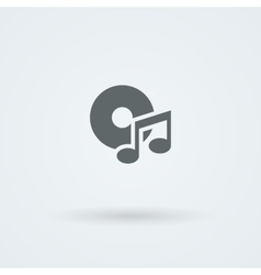 Minimalistic music icon disk and a note vector