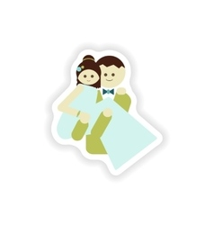 Stylish paper sticker on white background groom vector