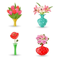 romantic collection of modern vases with flowers vector image