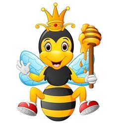 Cartoon bee holding honey vector image