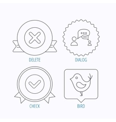 Delete check and chat speech bubble icons vector