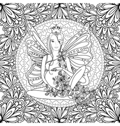 Adult coloring book page with fairy pregnant lady vector