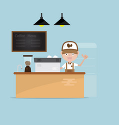 barista at counter in coffee shop vector image