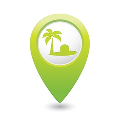 beach icon green map pointer2 vector image vector image
