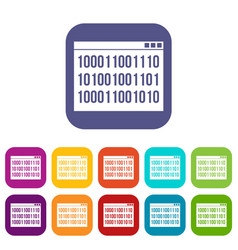 Binary code icons set vector