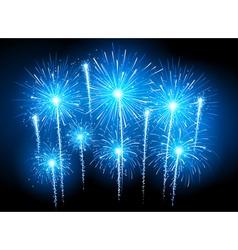 Blue fireworks vector image vector image
