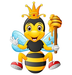 Cartoon bee holding honey vector