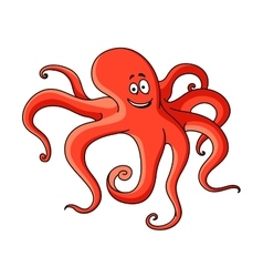 Cartoon red octopus with long tentacles vector