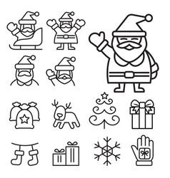 christmas santa claus icons vector image vector image