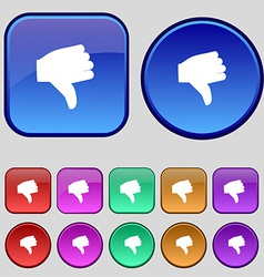 Dislike thumb down icon sign a set of twelve vector