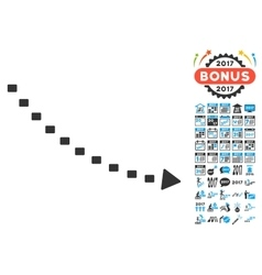 Dotted decline trend icon with 2017 year bonus vector