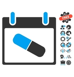 Drugs pill calendar day icon with bonus vector