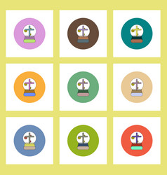 Flat icons halloween set of moon and cross concept vector