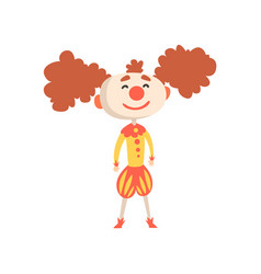 Funny cartoon clown in a medieval costume and vector