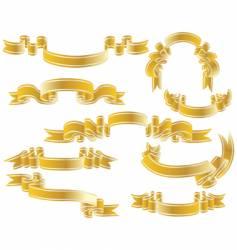 gold ribbons set vector image vector image