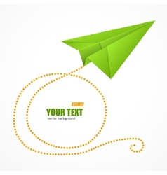 Green paper plane on blue sky and text box vector