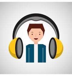 Headphones music cartoon guy happy vector