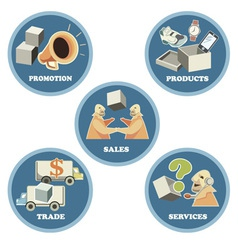 Icon set for business trade commerce vector
