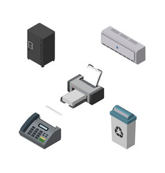 Isometric office set of printing machine wall vector