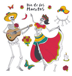 male and female skeleton play the guitar and dance vector image