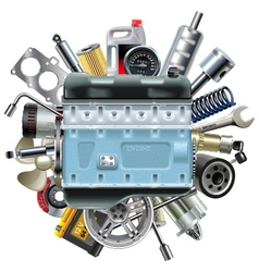 Motor engine with car spares vector