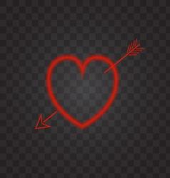 Neon heart with an arrow on a transparent vector