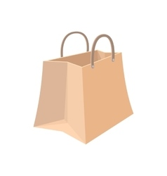 Paper shopping bag cartoon icon vector image