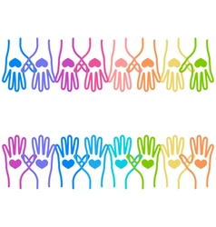 People colorful hands united with love to together vector