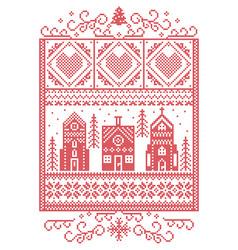 scandinavian christmas winter wonderland pattern vector image vector image