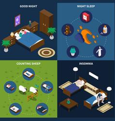 Sleep time isometric design concept vector