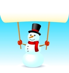 Smiling snowman christmas holding blank page vector image